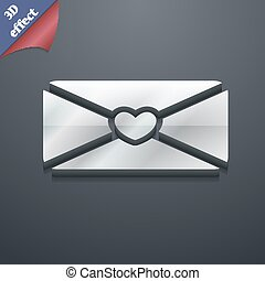 love letter icon symbol 3D style Trendy, modern design with...
