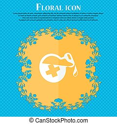 life healing potion decanter bottle icon Floral flat design...