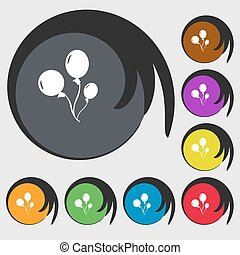 Balloons sign icon. Symbols on eight colored buttons. Vector...