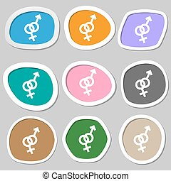 Male and female symbols. Multicolored paper stickers. Vector