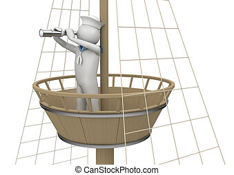 Workers collection - Sailor on watching platform - 3d...