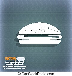 Burger, hamburger icon. On the blue-green abstract...
