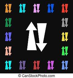dois, maneira, tráfego, ícone, sinal, lotes, de, coloridos,...