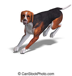 Austrian Black Dog 3D rendering with clipping path and...