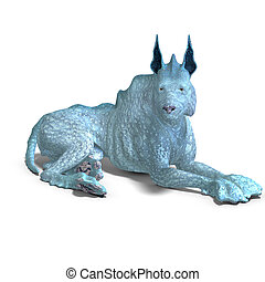 bizarre alien dog.3D rendering with clipping path and shadow...