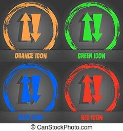 dois, maneira, tráfego, icon., na moda, modernos,...