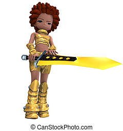 female fantasy manga knight as a cartoon guard 3D rendering...
