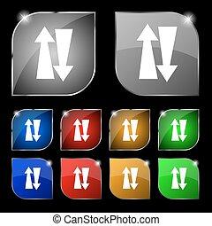 dois, maneira, tráfego, ícone, sinal., jogo, de, dez,...