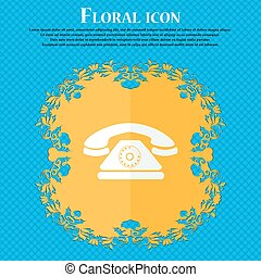 Retro telephone icon. Floral flat design on a blue abstract background with place for your text. Vector