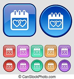 Calendar, heart, Valentines day, February 14, Love icon sign...