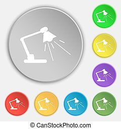 Reading-lamp icon sign Symbol on eight flat buttons Vector...