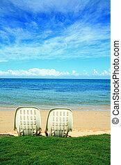 Romantico, scena, il, spiaggia