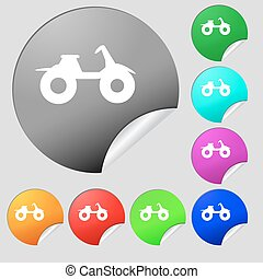 ATV icon sign Set of eight multi colored round buttons,...