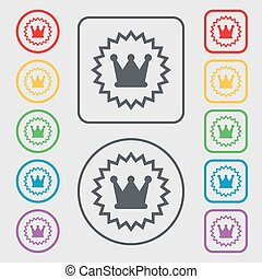 ?rown icon sign. symbol on the Round and square buttons with frame. Vector