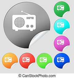 Retro radio icon sign. Set of eight multi colored round buttons, stickers. Vector