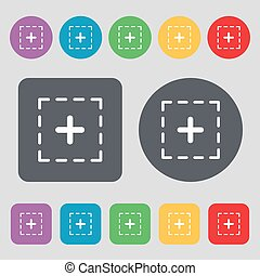 Plus in square icon sign. A set of 12 colored buttons. Flat design. Vector