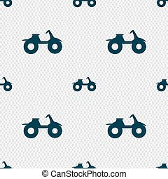 ATV icon sign Seamless pattern with geometric texture Vector...