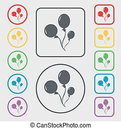 Balloons icon sign. symbol on the Round and square buttons...