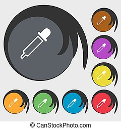 Pipette sign icon Symbols on eight colored buttons Vector...