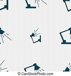 Reading-lamp icon sign Seamless pattern with geometric...
