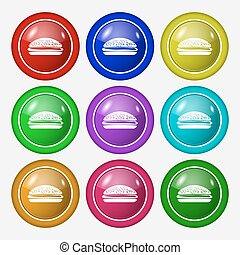 Burger, hamburger icon sign symbol on nine round colourful...