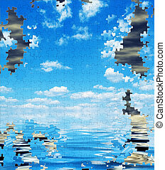 pollution, puzzle, environmental concept, - Clean and...