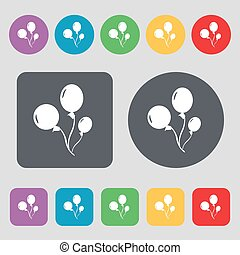 Balloons icon sign A set of 12 colored buttons Flat design...
