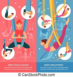 Aero Yoga Banner Set - Two vertical aero yoga banner or...