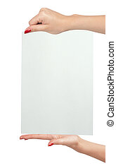 Female hands holding paper blank isolated on white