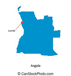 Detailed vector map of Angola and capital city Luanda