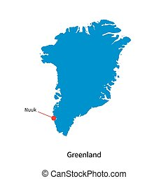 Detailed vector map of Greenland and capital city Nuuk