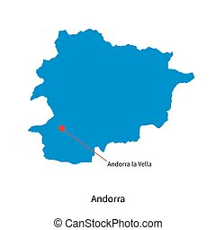 Detailed vector map of Andorra and capital city Andorra la...