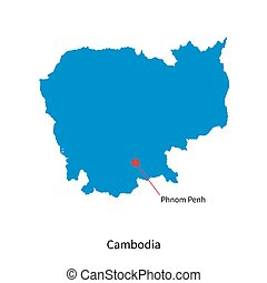 Detailed vector map of Cambodia and capital city Phnom Penh