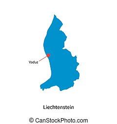 Detailed vector map of Liechtenstein and capital city Vaduz