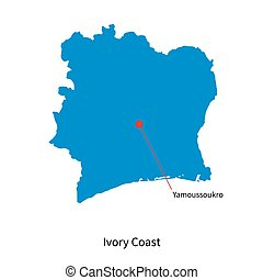 Detailed vector map of Ivory Coast and capital city...