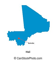 Detailed vector map of Mali and capital city Bamako