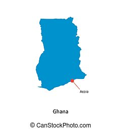 Detailed vector map of Ghana and capital city Accra