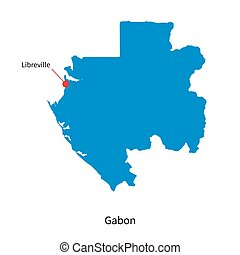 Detailed vector map of Gabon and capital city Libreville
