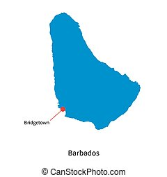 Detailed vector map of Barbados and capital city Bridgetown