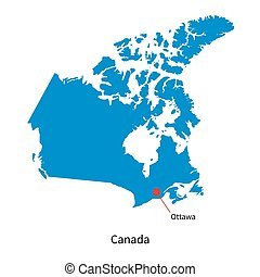 Detailed vector map of Canada and capital city Ottawa
