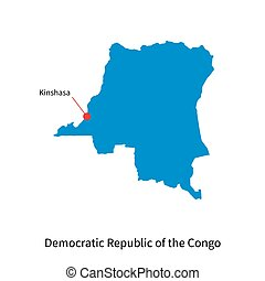 Map Democratic Republic of the Congo and capital city...