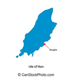 Detailed vector map Isle of Man and capital city Douglas -...