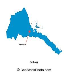 Detailed vector map of Eritrea and capital city Asmara