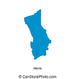 Detailed vector map of Herm