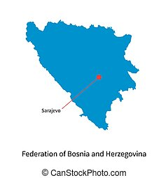 Map Federation of Bosnia and Herzegovina with capital city...