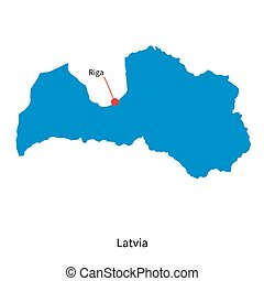 Detailed vector map of Latvia and capital city Riga