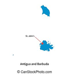 Map of Antigua and Barbuda with capital city - Detailed...