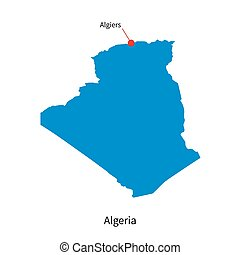 Detailed vector map of Algeria and capital city Algiers