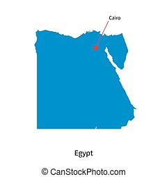 Detailed vector map of Egypt and capital city Cairo