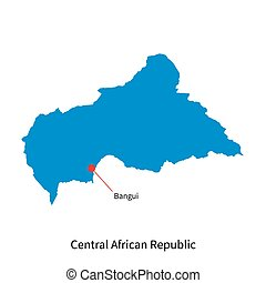 Map of Central African Republic and capital city Bangui -...
